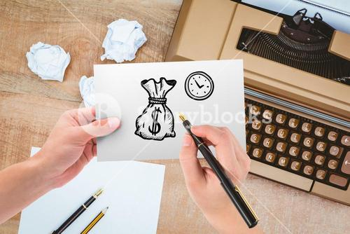 hand drawing money bag and clock with typewriter background