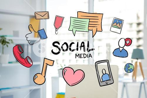 social media graphics with office background