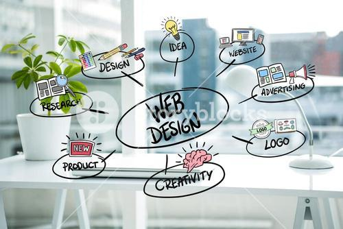 business graphics with office background