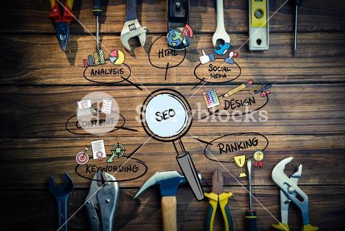 business graphics with wood background