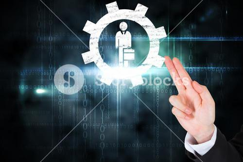 hand pointing to graphic with technology background