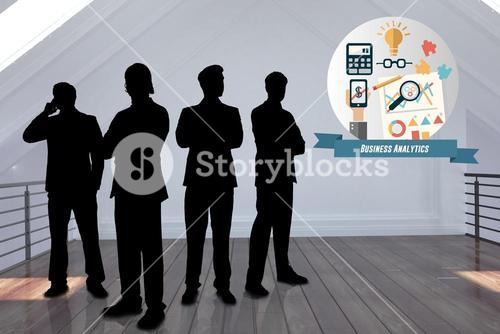 silhouette of business people in house with graphic