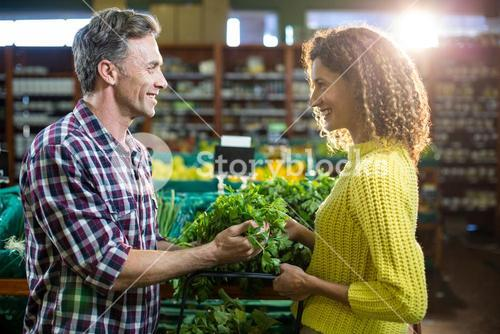Happy couple buying vegetables in organic section