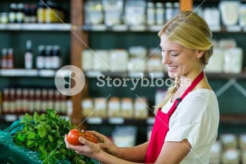 Female staff checking vegetables in organic section