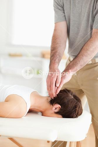 Guy massaging a radiant womans neck