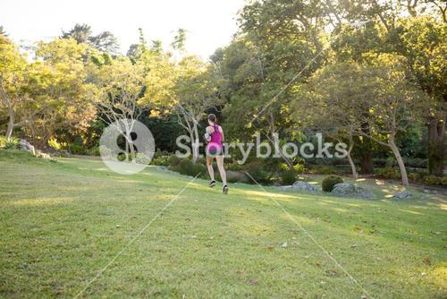 Rear view of female jogger jogging
