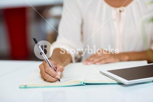 Business executive writing on diary