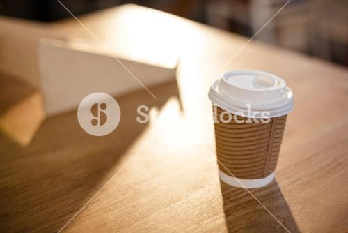 Disposable cup on a table