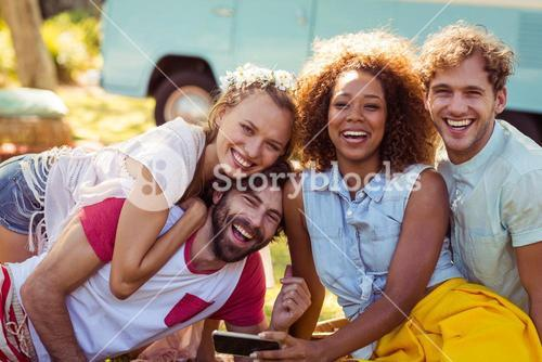 Portrait of happy friends having fun together