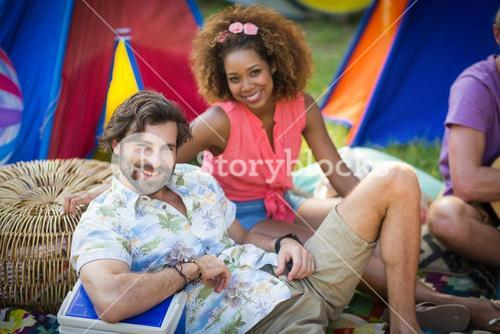Couple together at campsite