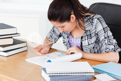 Young student doing homework