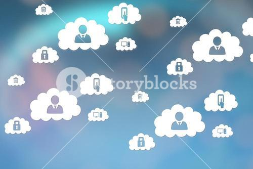 Icons interface of people in the clouds