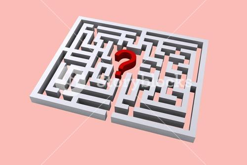 question mark in center of maze graphic