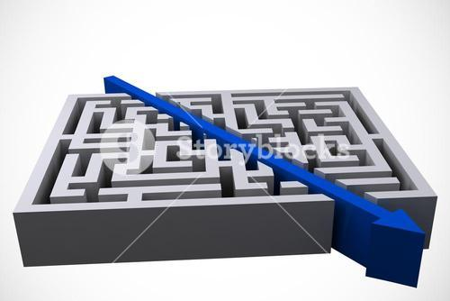 arrow graphic cutting straight through maze