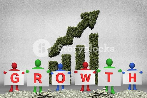 figures holding growth text