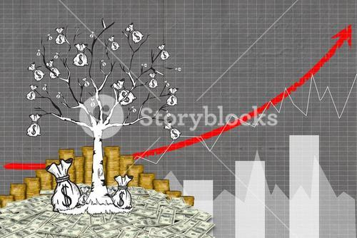 tree graphic growing from money pile