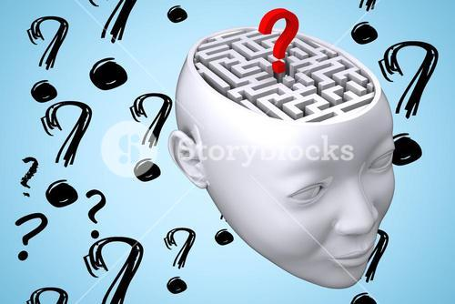 maze inside head graphic with questionmarks