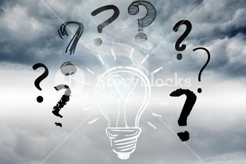 light bulb and question marks graphics