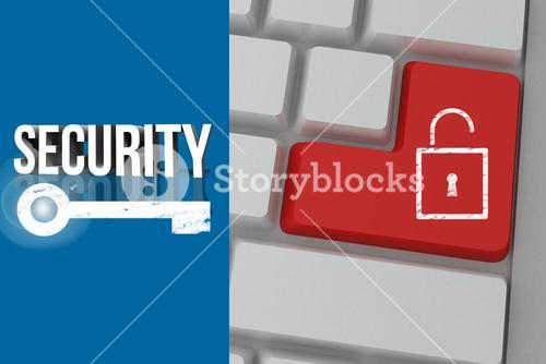 security graphic with padlock button on keyboard