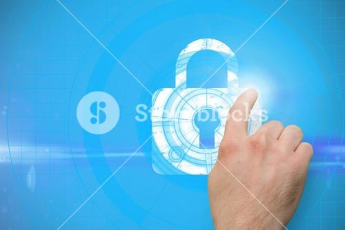 hand pointing at padlock graphic