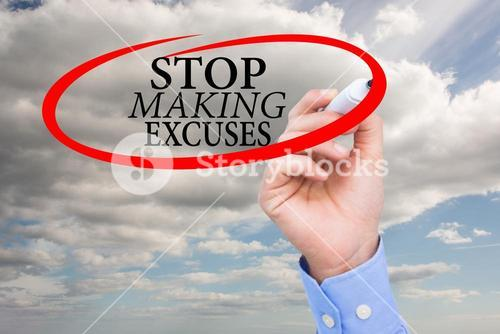 hand drawing stop making excuses graphic