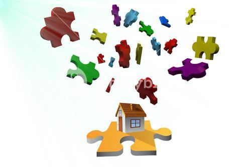 house and puzzle graphic