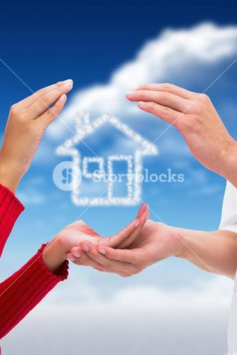 couple hands holding house graphic