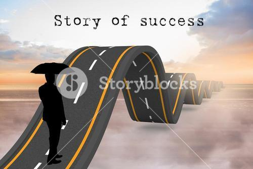 silhouette with wavy road and story of success text