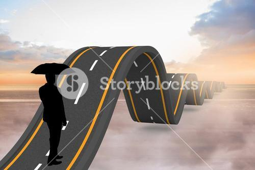 Businessman travelling on bumpy road