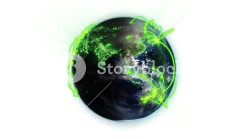 Illustrated green connections on world with an Earth image courtesy of Nasa.org