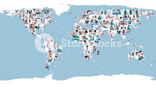 Pictures of doctors forming a world map