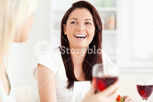 Portrait of young Women drinking wine