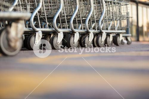 Shopping carts arranged in a row