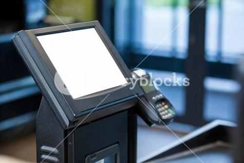 Billing machine and credit card terminal at cash counter