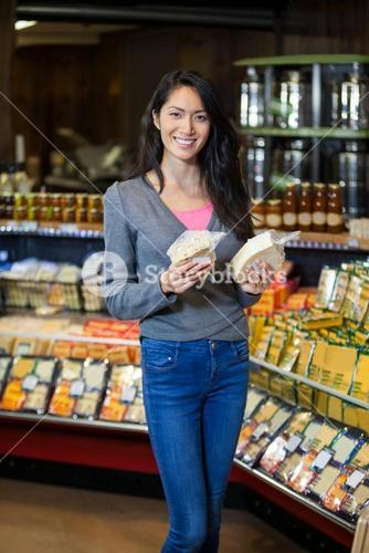 Woman shopping for grocery