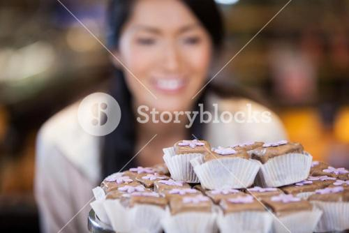 Close-up of cupcakes on cake stand