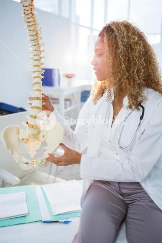 Smiling physiotherapist holding a spine model