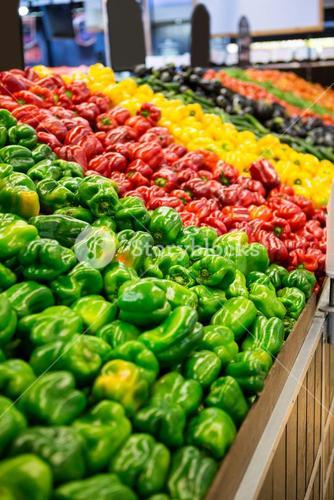 Variety of vegetables in organic section