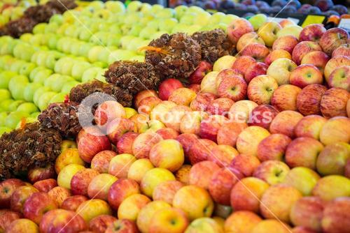 Variety of fruits in organic section