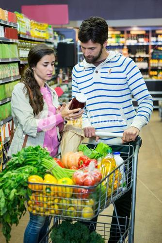 Couple shopping in grocery section