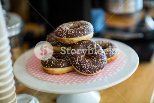 Doughnuts on cake stand