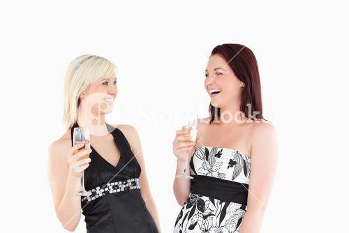 Smiling welldressed women drinking champaign