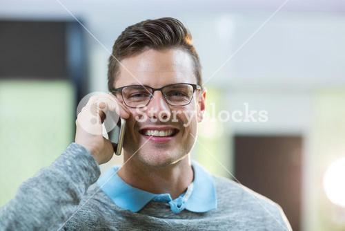 Customer talking on mobile phone
