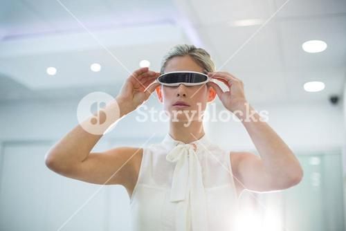 Woman using 3d video glasses