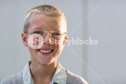 Smiling young customer wearing spectacles