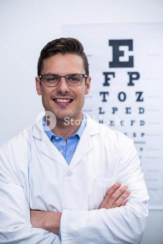 Optometrist smiling in ophthalmology clinic
