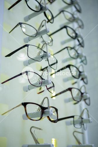 Close-up of various spectacles on display
