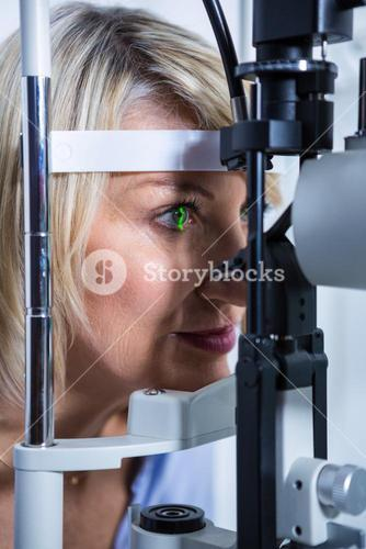 Eye examination on slit lamp