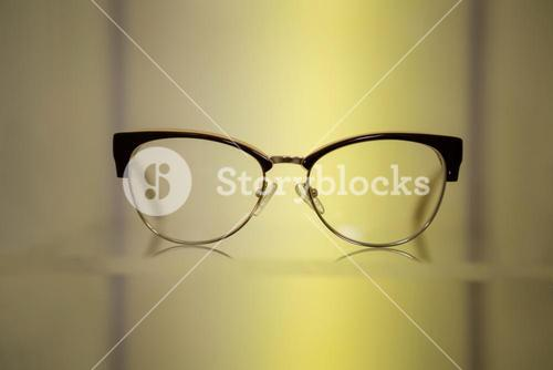 Close-up of spectacles on display