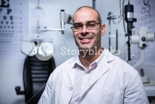 Portrait of male optometrist smiling